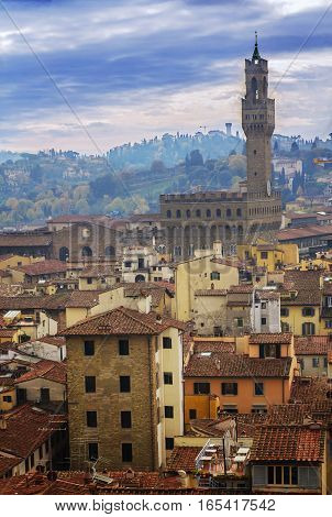 cityscape and the Palazzo Vecchio in Florence Italy