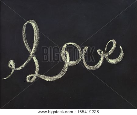 Message Love. Lettering On Chalk Board To St. Valentine's Day