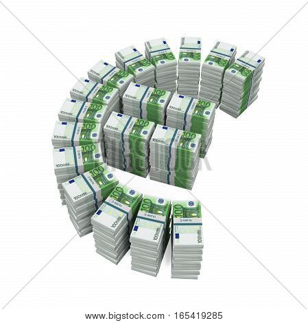 Stacks of 100 Euro Banknotes isolated on white background. 3D render