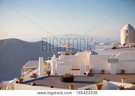 White architecture of Santorini island. Hotel terraces. Oia Santorini island Greece