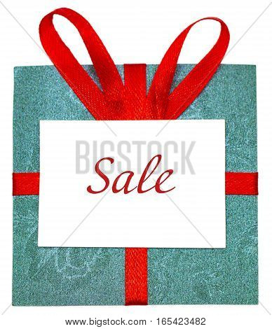 Green Gift With Red Ribbon. Isolated