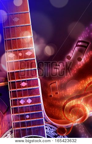 Illustration Acoustic Guitar With Black Red And Blue Background Vertical