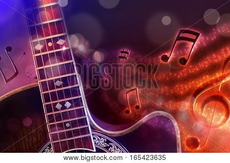 Illustration Acoustic Guitar With Black Red And Blue Background Horizontal