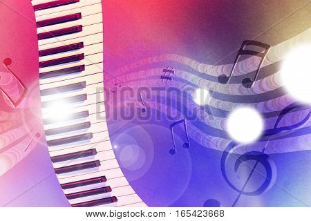 Illustration Keyboard With Red And Blue Lights Horizontal
