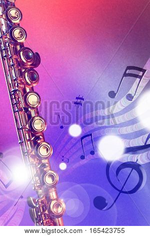 Illustration Transverse Flute With Red And Blue Lights Vertical
