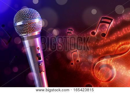 Illustration Microphone With Red And Blue Background Horizontal
