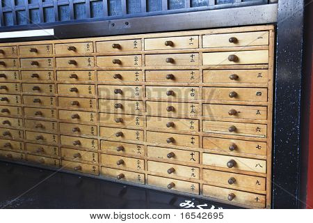 Open the number you've got from Omikuji fortune lotto there will be your fortune slip inside of this drawer