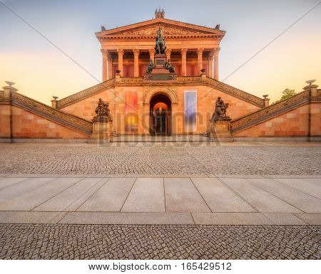 Panoramic view of old National gallery in Berlin, Germany