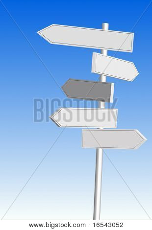 Illustration of direction signs with blue sky background.