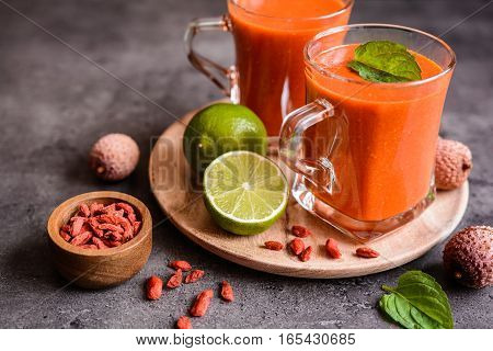 Healthy Smoothie With Lychee, Goji And Lime