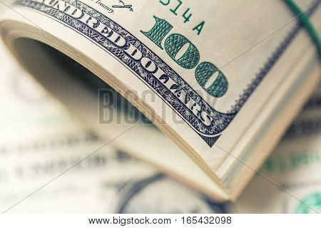 Dollars rolled closeup. American Dollars Cash Money. One Hundred Dollar Banknotes.