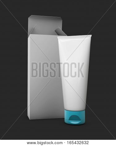 3D Illustration Of Blank White Tubes With Opened Box Isolated On Black Background