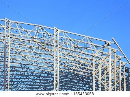Skeleton of industrial building during construction (detail)
