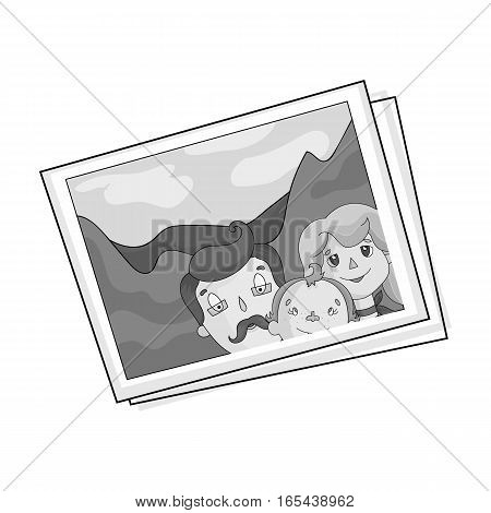 Family photo portrait icon in monochrome design isolated on white background. Family holiday symbol stock vector illustration.