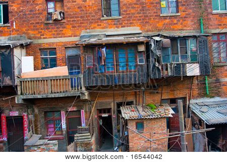the slum of a city in china.