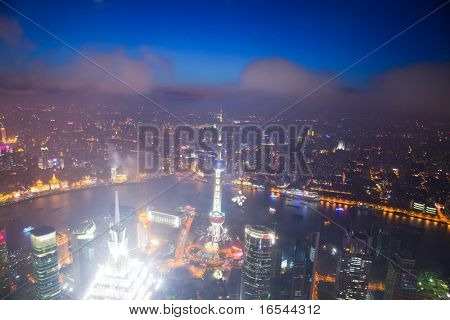 Bird's eye view of Shanghai Pudong at night
