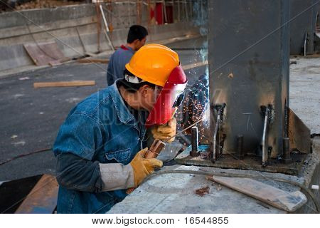 the man working in a house.