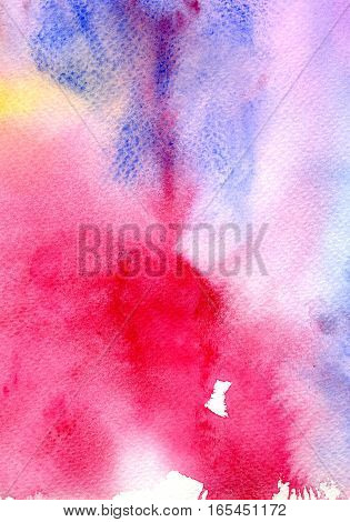 Hand drawn red watercolor background. Abstract modern template for greeting card or invitation design with watercolor splash.