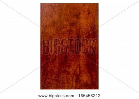 Isolated front red cherry wooden door for bathroom and kitchen cabinets. Cabinet, Red Cherry Color, Kitchen, Door, Slab Door