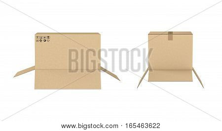 3d rendering of two open cardboard boxes of different size isolated on white background. Storage and transportation. Containers. Carton boxes.