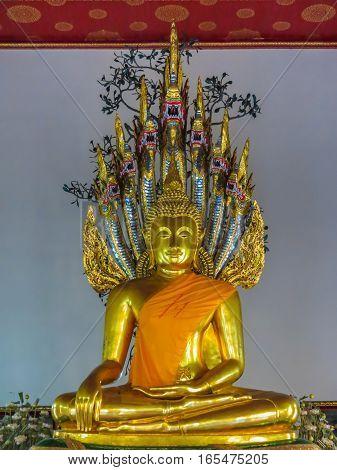 Buddha's statue Wat Pho Temple or Temple of the Reclining Buddha. Bangkok, Thailand