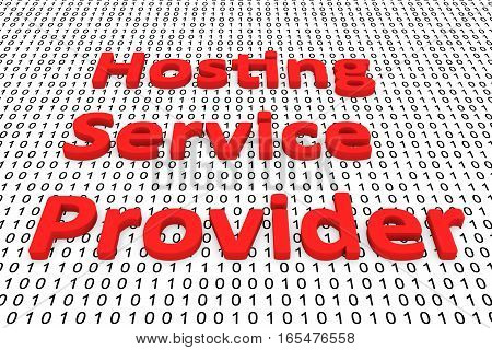 hosting service provider in the form of binary code, 3D illustration