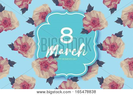 Showy Bouquet Peony Flowers. Beautiful Floral Greeting card with square frame and space for text. 8 March. International Happy Women's Day. Paper cut eight. Trendy Design Template. Vector illustration