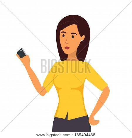 Woman with mobile. Flat design vector illustration