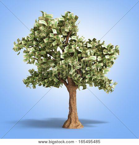 Dollar Tree With Hundred Dollar Bills On Gradient 3D Illustration