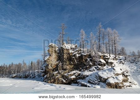 Cliff at the confluence of the rivers Samokit and Chulman in South Yakutia Russia
