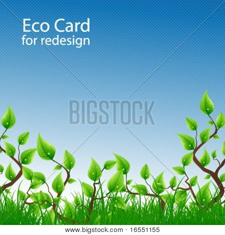 Fresh eco card for redesign. Vector.