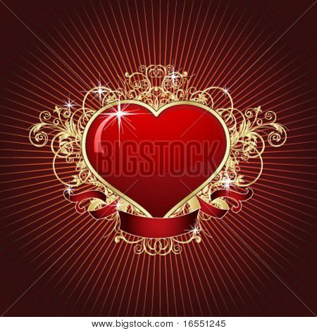 Hot heart. Vector.