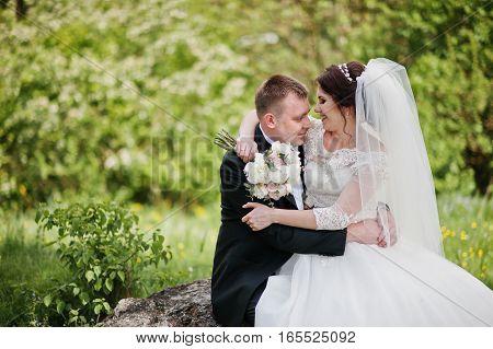 Lovely Wedding Couple Sitting On Big Stone Background Beautiful Landscape.