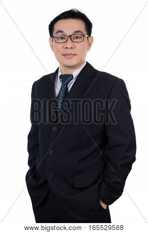 Smiling Asian Chinese Man Wearing Suit Posing With Confident