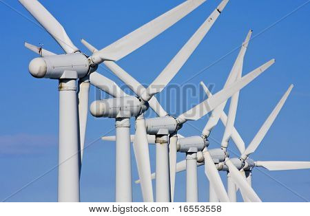 Close up of windmills in windfarm