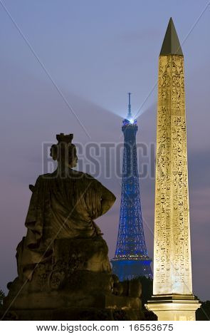 The Obelisk and Eiffel Tower from Place de la Concorde