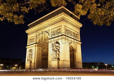 The international landmark the Arc de Triomphe in Paris