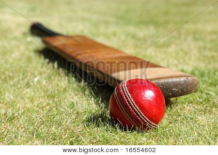 Cricket ball and bat on green grass of cricket pitch