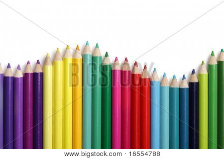 Coloured pencil bar chart in wave patern on white background