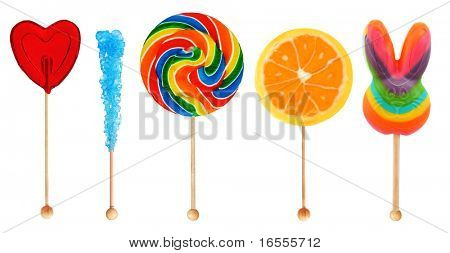 Colorful sweet lollipop candy in a row isolated on white