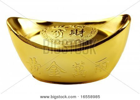 Decoration of Chinese gold Ingot isolated on white