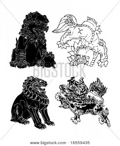 Vector of Ancient lion Dragon Pattern