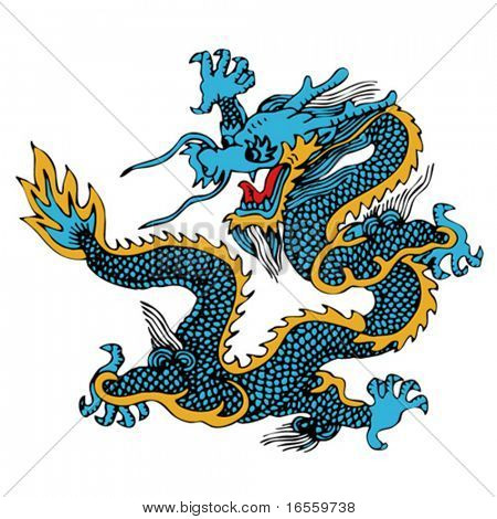 Vector of Ancient Chinese Dragon Pattern