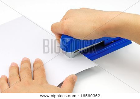 Binding document with stapler