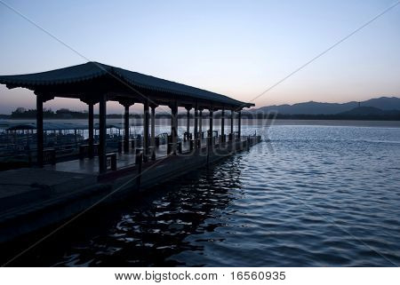 Kunming Lake in Summer Palace at dusk,Beijing,China