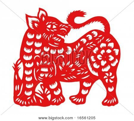 Vector of Paper Cutting Series,Chinese Zodiac Sign(No.3)--TIGER.