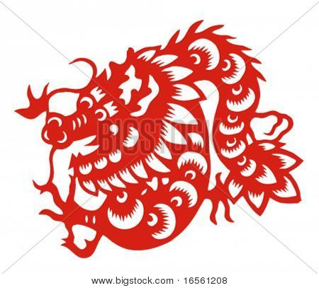 Vector of Paper Cutting Series,Chinese Zodiac Sign(No.5)--DRAGON.
