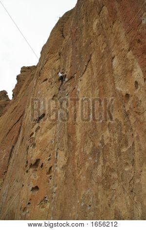 Climber Near Top Of  Rock Face