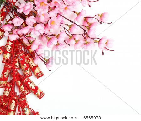 Chinese New Year Ornament,Firecrackers and Plum Blossom.