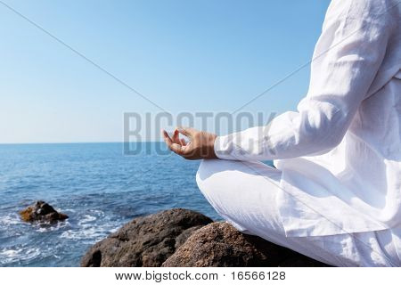 Man relaxing on the beach.